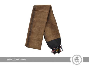 Brown Scarf made with cotton and wool.