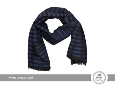 Blue and Black striped Scarf for men.