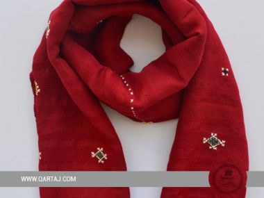 Bordeaux floral scarf with embroidery
