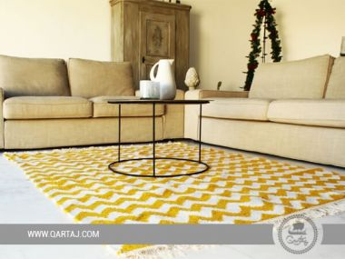 Yellow & white waves rug, Tunisian Carpet, Wool floor Rugs, Berber Carpet