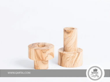Candle Holder, Olive Wood made in Tunisia
