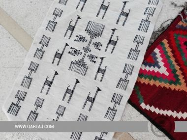 Black & White Runner Small Size Handmade In Tunisia, Tapis home decor
