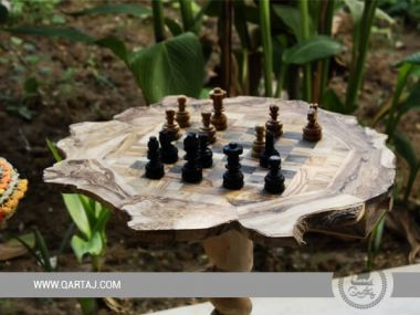 Handmade Naturel Olive Wood Chessboard Table