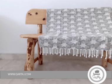 Jacquard Greige Hamam Fouta Towel Bedspread
