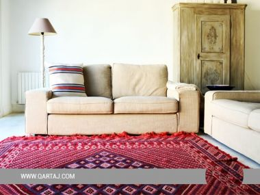 Kairouan carpet, home decor handmade red rug, carpets made in Tunisia