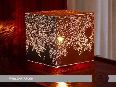 Square Luster/Lampshade with Calligraphy Handmade