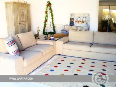 PomPon Carpet Handmade 100 % wool, handmade rug from Makther, Stylish colorful tapis