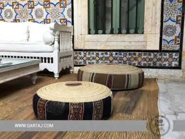 Pouf El Hsira round in kilim and palm, Made in Tunisia