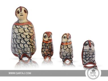 Set of Sejnan pottery dolls: four Owls in different sizes