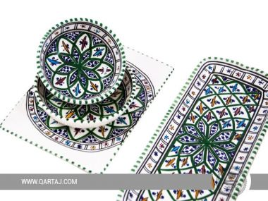 Ceramic Handmade Jilani Green Set Made In Tunisia
