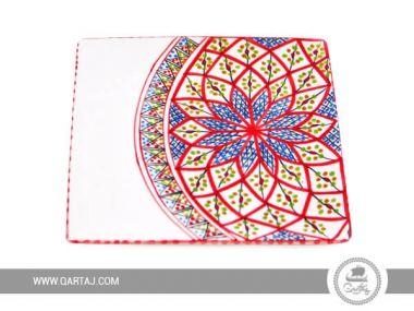 Nabeul Ceramics Handmade Plate Slama Red and White