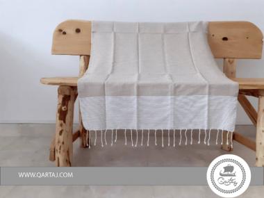 Striped Beige Traditional Hamam Fouta Beach Towel