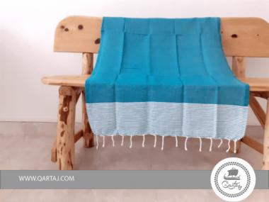 Striped Turquoise Traditional Hamam Fouta Beach Towel
