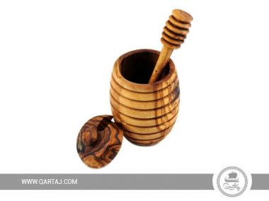 Olive Wood Honey Pot with Honey Dipper Rounded