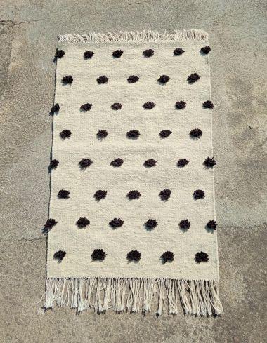Amazigh Berber Small Pompom Kilim Rug Black and White