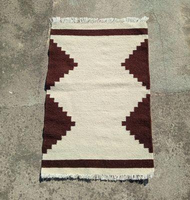 Amazigh Berber Small Geometric Kilim Rug White and Dark Brown
