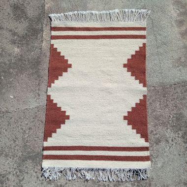 Amazigh Berber Small Geometric Kilim Rug White and Warm Brown