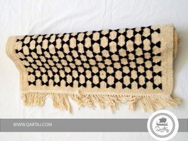 Rug Black White Stars 90x180 cm Etandart Handmade