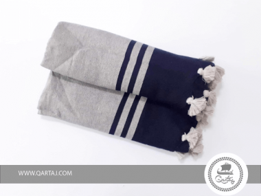 Fouta  Greige and Black Striped with Pompoms