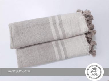 Fouta  Greige and Sand Striped with Pompoms