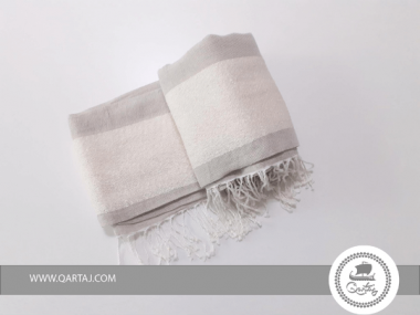 Fouta Greige White Textured