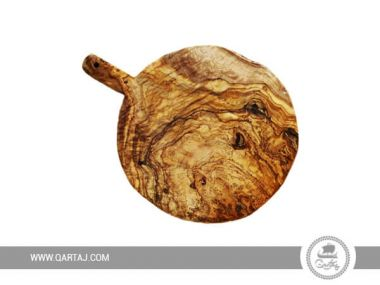 Olive Wood Round Board With Handle Large