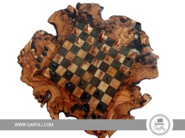 Olive Wood Rustic Chess Board Set with Resin Finish