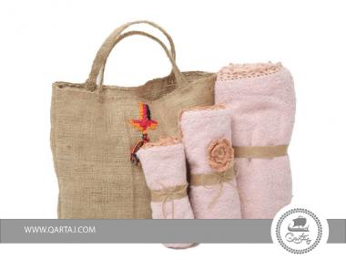 SET H&A Sac et série de 3 serviettes couleur rose