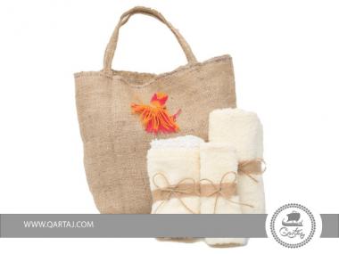 SET H&A Sac et série de 3 serviettes couleur Beige