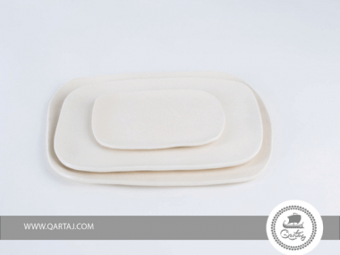 Set of Plates Porcelain, interiors glazed to insure watertight made in Tunisia