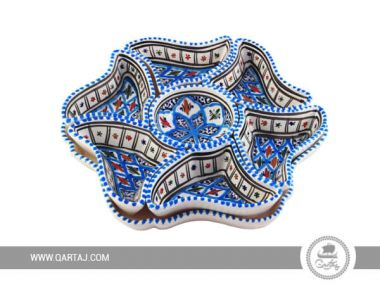 Star Aperitif Plate Tunisian Hand-painted White Ceramics