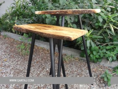 Table Iron with Olive Wood Rustic and Natural Board