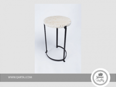 Table Metal and Fossilized Stone Handmade