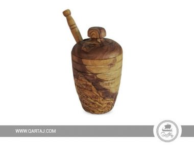 Olive Wood Honey Pot with Honey Dipper
