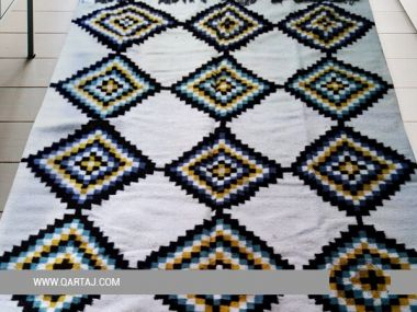 Colorful Handwoven Rug, Handmade in Tunisia