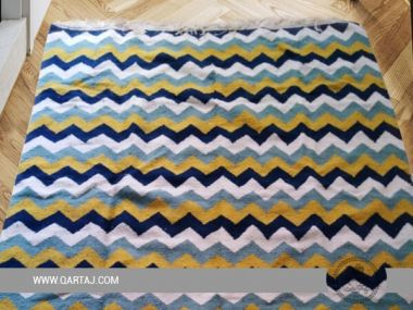 Colorful Waves Rug, Handwoven in Tunisia
