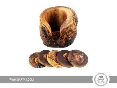 Olive Wood Set of 5 Undergrowth Coasters and Container