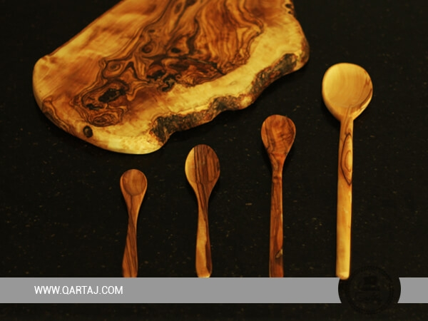 Olive Wood Board And Spoons Set