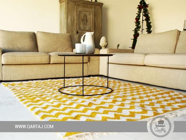 Yellow & white waves rug, Tunisian Carpet, Wool floor Rugs, Berber Carpet