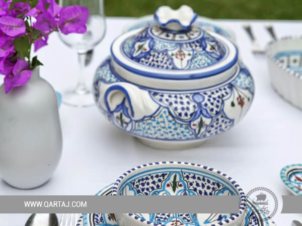 Jilani Collection Pottery Slama handmade Ceramic Blue Sky Decorated Set