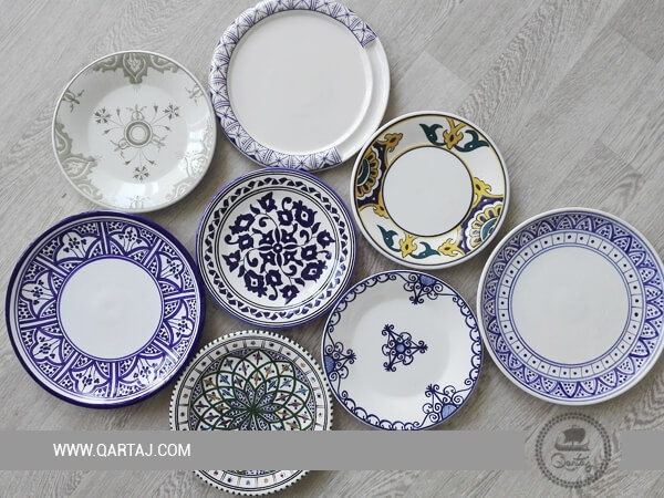 Collection of ceramics handmade plates with different forms
