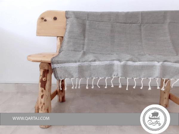 Light Gray Industrial Style Hamam Fouta Beach Towel Bedspread