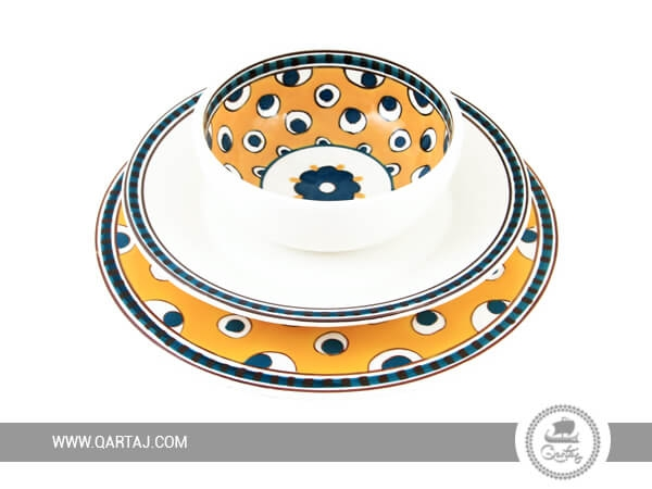 Plates and Bowls set Collection Œil de Paon by Alessandra Mauri