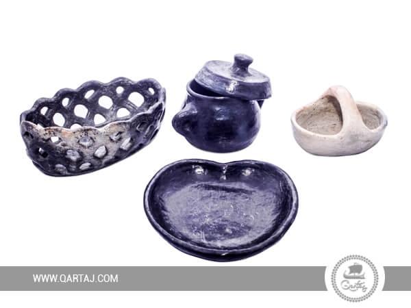 Tunisian handicraft Set of Four Decorative Sajnen Pottery