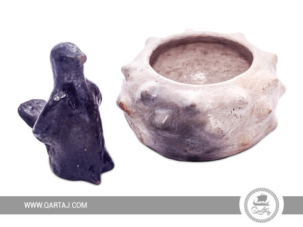 Set of Sejnan pottery: pigeon and deep bowl