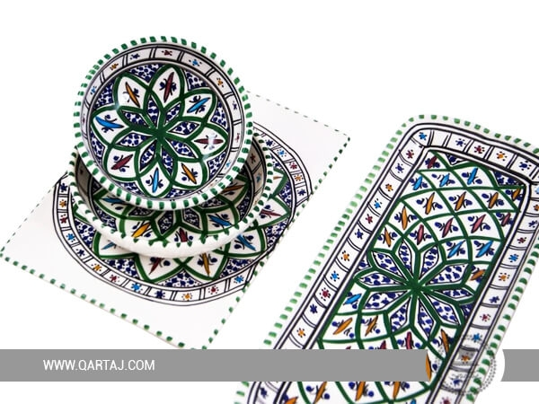Ceramic Handmade Jilani Green Set Made In Tunisia