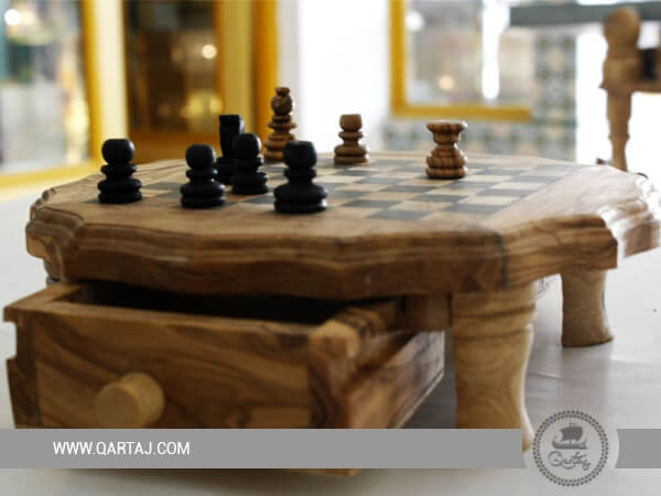 Olive Wood Small Chess Board Set