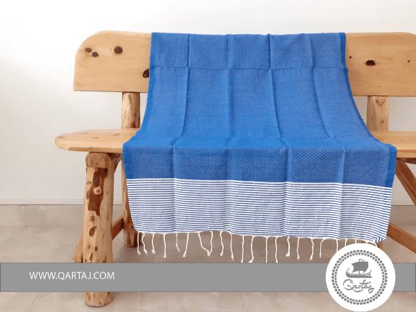 Striped Cobalt Blue Traditional Hamam Fouta Beach Towel
