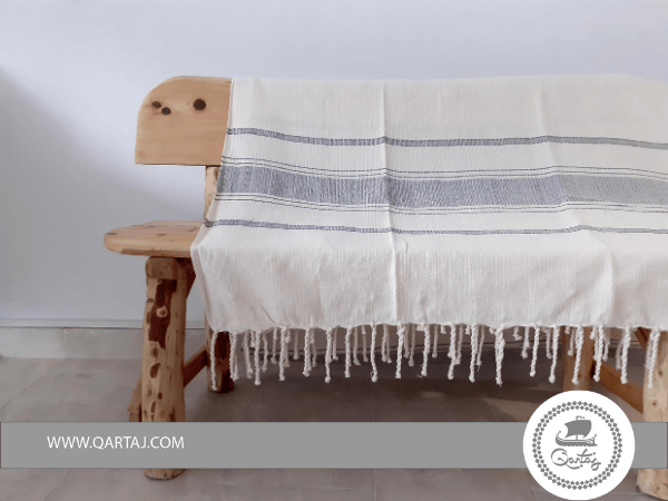 Striped Stone Ibiza Style Hamam Fouta Towel Spread XL