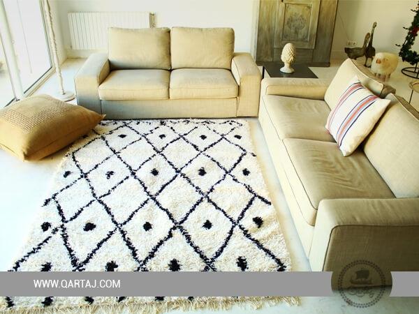 White and Black area rug, carpet for home decor Kanich Tunisia Rugs